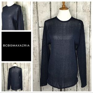 BCBG Max Azaria navy crewneck sweater